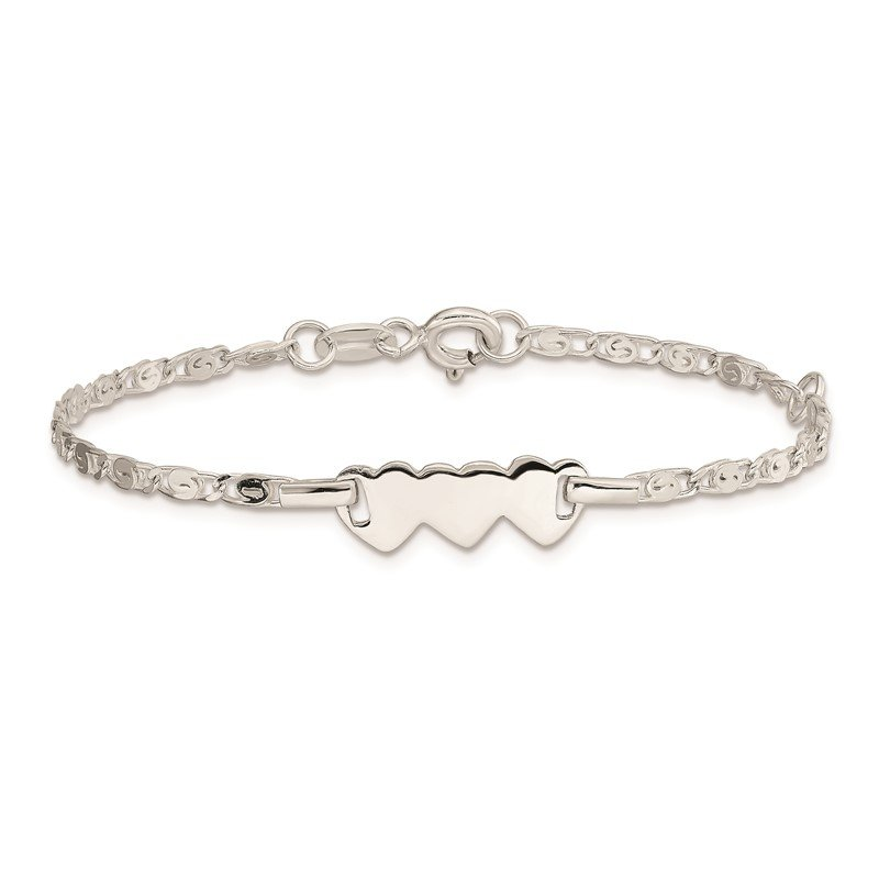 Quality Gold Sterling Silver Polished Heart Baby Engraveable ID Bracelet