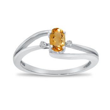 10k White Gold Oval Citrine And Diamond Wave Ring