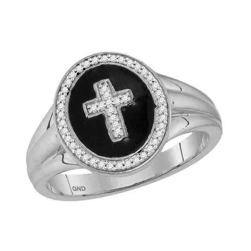 Kingdom Treasures 10kt White Gold Mens Round Diamond Cross Crucifix Fashion Ring 1/6 Cttw