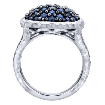 925 Sterling Silver Hammered Split Shank Sapphire Pave Ladies Ring