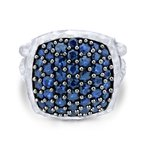 Gabriel Fashion 925 Sterling Silver Hammered Split Shank Sapphire Pave Ladies Ring