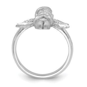 14K White Polished & Brushed D/C Praying Angel Ring