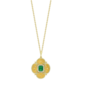 Etruscan Style Emerald & Diamond Necklace