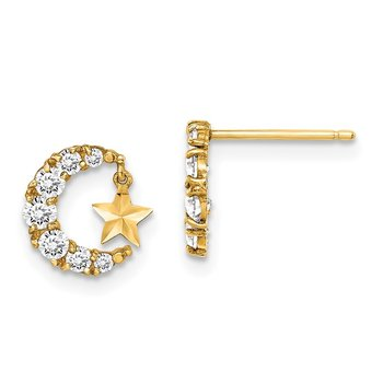 14k Madi K CZ Crescent Moon with D/C Star Dangle Post Earrings