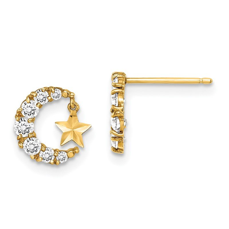 Lester Martin Online Collection 14k Madi K CZ Crescent Moon with D/C Star Dangle Post Earrings