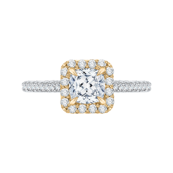 14K Two-Tone Gold Cushion Diamond Halo Engagement Ring (Semi-Mount)