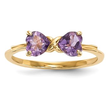 14k Gold Polished Amethyst Bow Ring