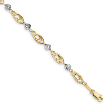 14K Gold Two-tone Oval Links with Diamond Cut Beads Bracelet
