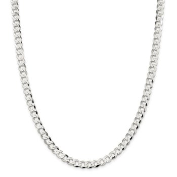 Sterling Silver 6.8mm Flat Curb Chain