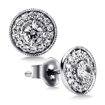 Pave set Diamond Round Halo Earrings, 14k White Gold  (1/2 ct. tw.) HI/I1