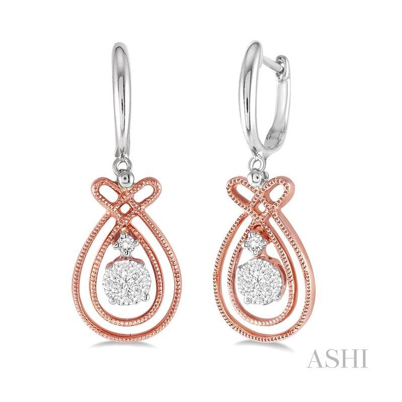 ASHI pear shape lovebright diamond earrings