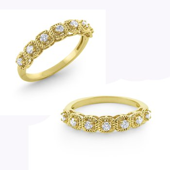 14K Prong Set Diamond Stackable Ring