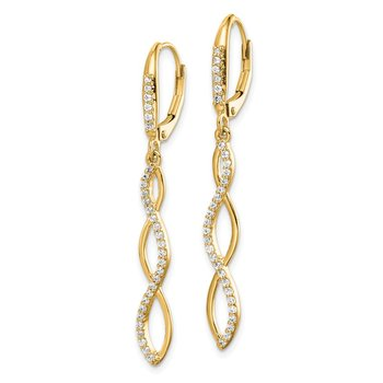 14k Diamond Leverback Earrings
