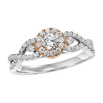 14K Diamond Engagement Ring 1/2 ctw with 1/4 ct Center