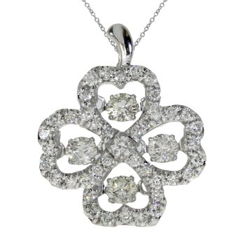 14K White Gold Diamond Dashing Diamonds Pendant