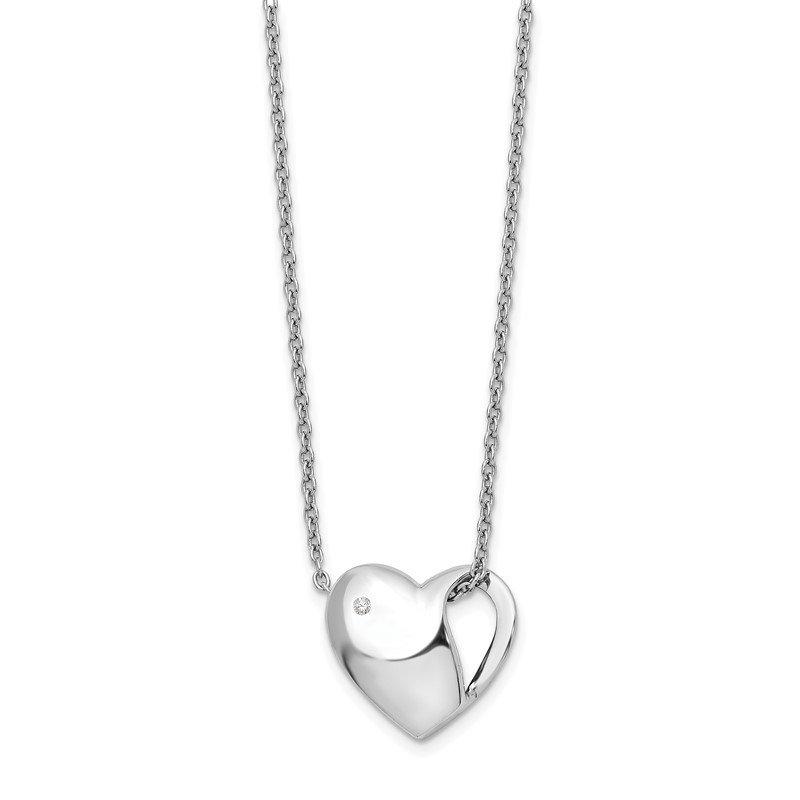 SS White Ice Diamond Heart Necklace New