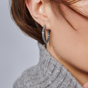 Classic Chain Medium Hoop Earring in Silver. Available at our Halifax store.