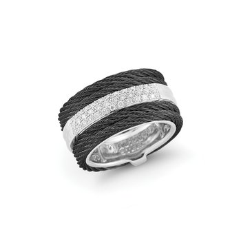 Black Cable Channel Ring with 18kt White Gold & Diamonds