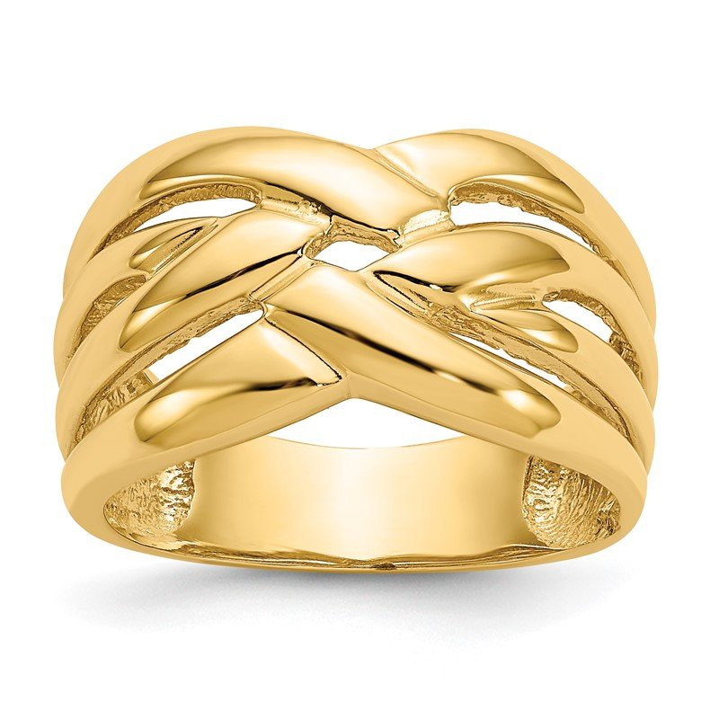 Quality Gold 14k High Polished Woven Dome Ring