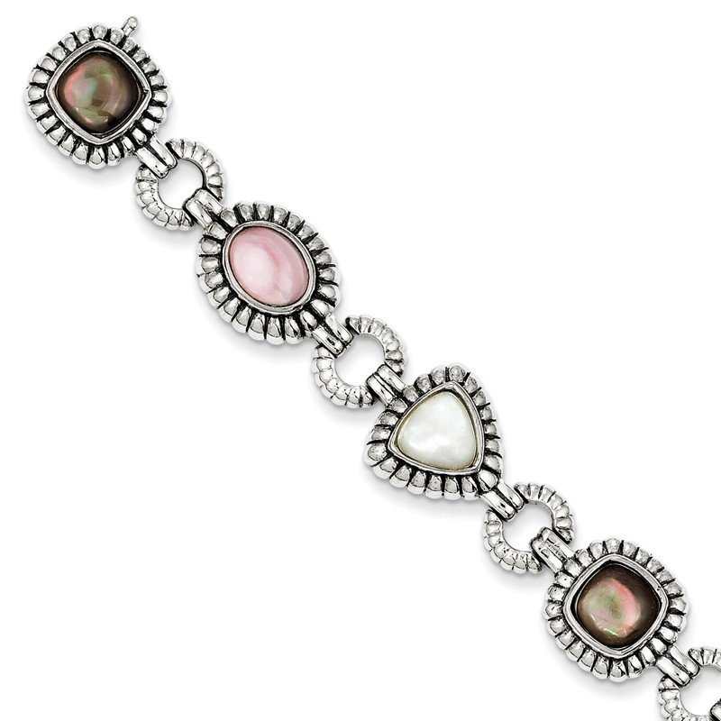 Shey Couture Sterling Silver Pink/Black/White Mother of Pearl 7.75in Bracelet