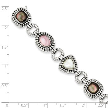 Sterling Silver Pink/Black/White Mother of Pearl 7.75in Bracelet