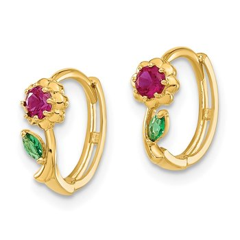 14k Madi K Red & Green CZ Hinged Hoop Earrings