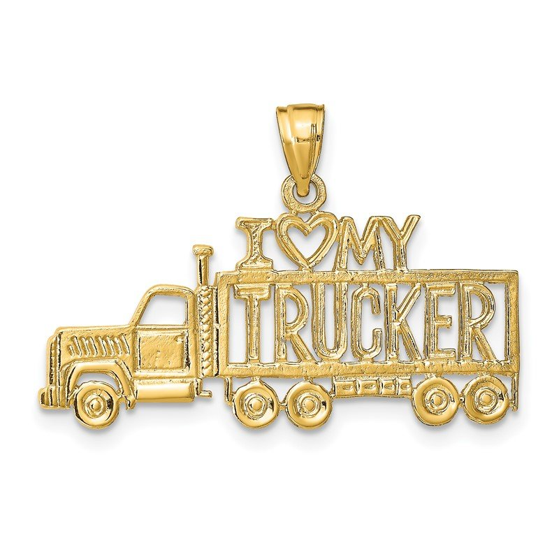 Quality Gold 14k I LOVE MY TRUCKER Truck Pendant