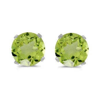 5 mm Natural Round Peridot Stud Earrings Set in 14k White Gold