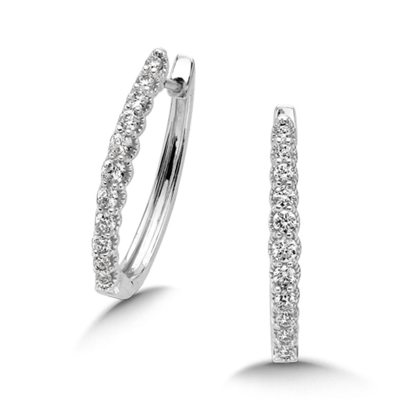 SDC Creations Pave set Diamond Heirloom Oval Hoops in 14k White Gold (1/2ct. tw.) GH/SI1-SI2