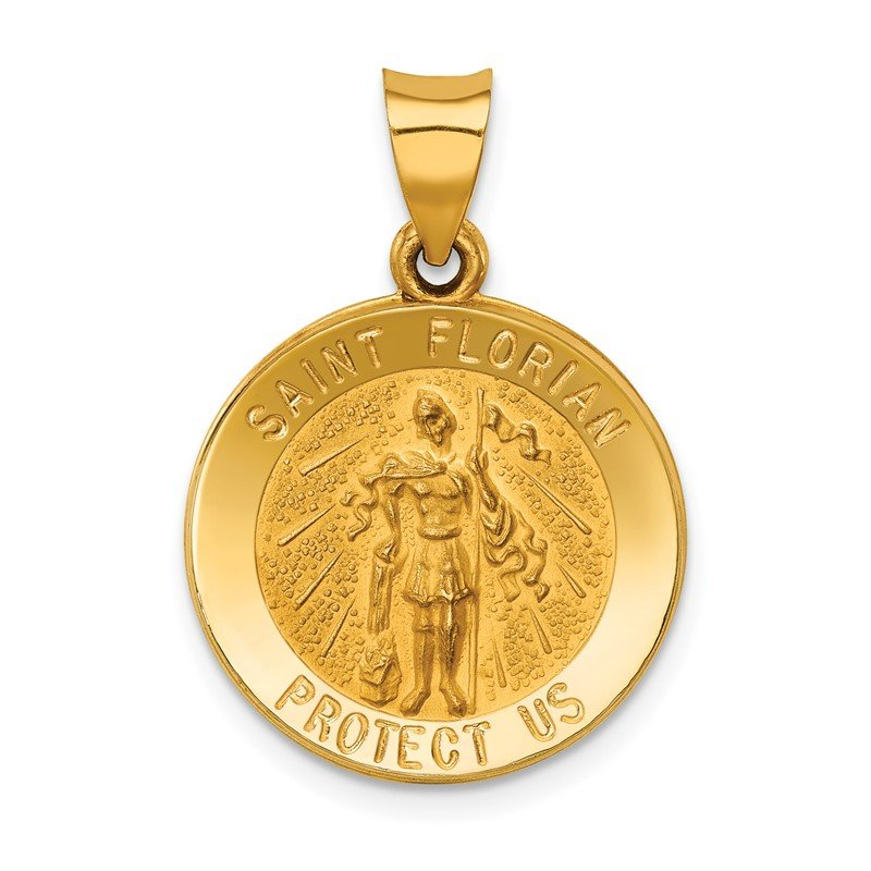 Quality Gold 14k Polished and Satin St Florian Medal Hollow Pendant