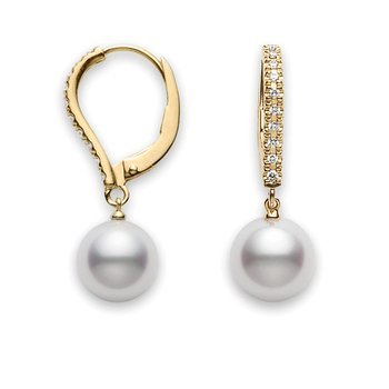 Akoya Pearl Drop Earring in 18K Yellow Gold with Diamonds