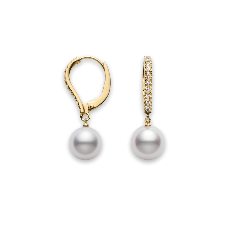 yellow pearl white earrings elegance south gold mikimoto sea classic
