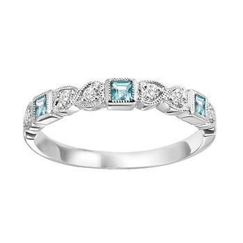 14K Blue Topaz & Diamond Mixable Ring