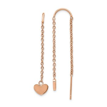 Stainless Steel Polished Rose IP-plated Threader Heart Dangle Earrings