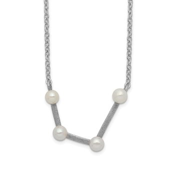 Sterling Silver Rhod-plat 4 3-4mm FWC Pearl Aquarius w/ 1in ext. Necklace