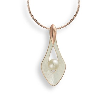 White Teardrop Necklace.Rose Gold Plated Sterling Silver-Freshwater Pearl