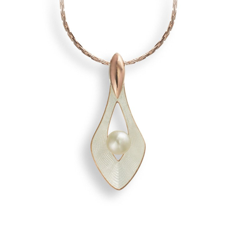 Nicole Barr Designs White Teardrop Necklace.Rose Gold Plated Sterling Silver-Freshwater Pearl