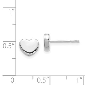 14K White Gold Polished Heart Post Earrings