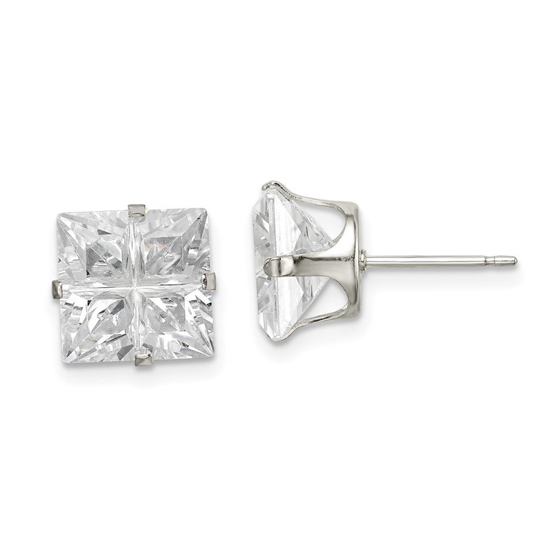 Quality Gold Sterling Silver 9mm Square Snap Set Cross-cut CZ Stud Earrings