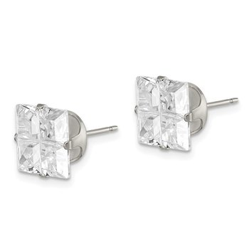 Sterling Silver 9mm Square Snap Set Cross-cut CZ Stud Earrings