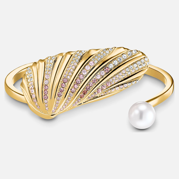 Shell Cuff, Light multi-colored, Gold-tone plated