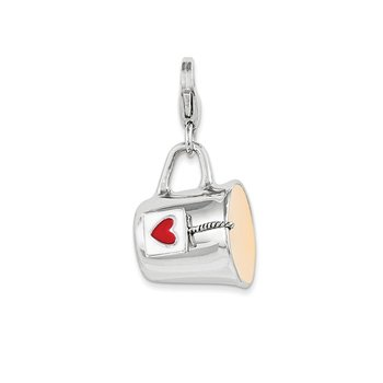 Sterling Silver Rhodium-plated w/Lobster Clasp Enameled Mug Charm