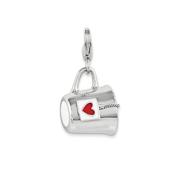 Sterling Silver Rhodium Enameled Mug w/Lobster Clasp Charm
