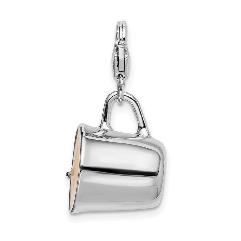 Quality Gold Sterling Silver Rhodium-plated w/Lobster Clasp Enameled Mug Charm