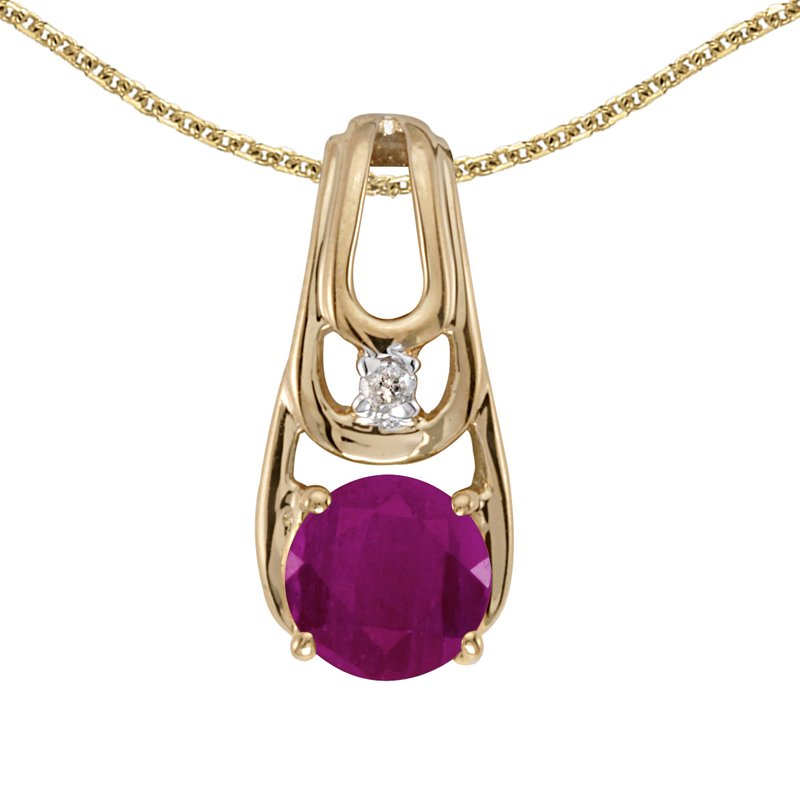 Color Merchants 10k Yellow Gold Round Ruby And Diamond Pendant