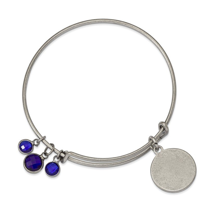 Fine Jewelry by JBD Silver-tone Brass Blue Crystal Bangle Bracelet