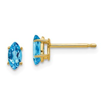 14k 6x3mm Marquise Blue Topaz earring