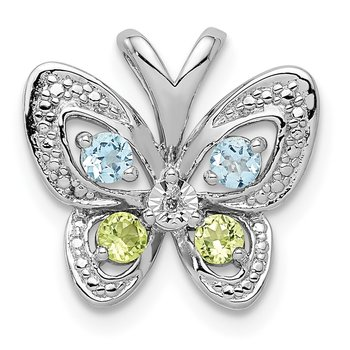 Sterling Silver Rhodium-plated Blue Topaz & Peridot & Diamond Pendant