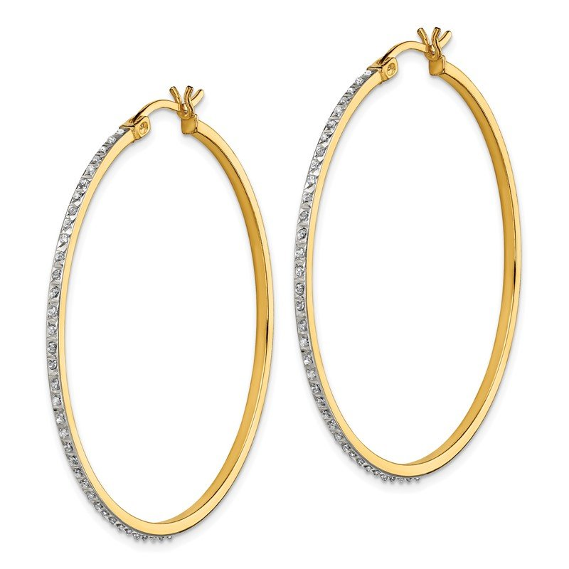 Quality Gold Sterling Silver & Gold-plated Diamond Mystique Round Hoop Earrings