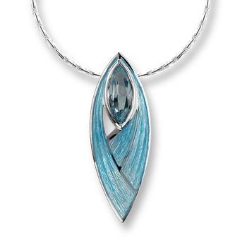 Sterling Silver Pinnacle Necklace-Blue, Blue Topaz